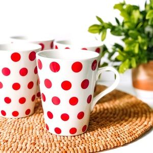 Crate & Barrell Red Polka Dot Coffee Tea 4 Mugs